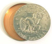 A hollow silver dollar for hiding film and other secret documents