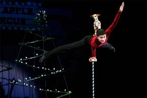 Christian Atayde Stoinev performs his hand-balancing act with his dog Scooby at the age of 14 at the Big Apple Circus.