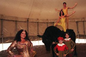 Mafalda Zoppe (left) is shown with her sons Ermes, Gino, below, and Matt and Olissio atop their Black Percheron.