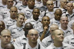 You can see how the new Citadel students might earn the name knob, based on their buzzcuts.