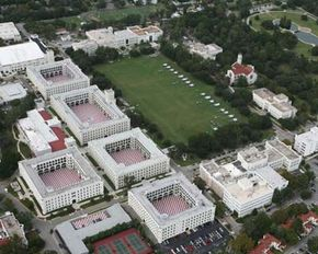 Aerial view of The Citadel's campus today after it moved from its original digs in Marion Square