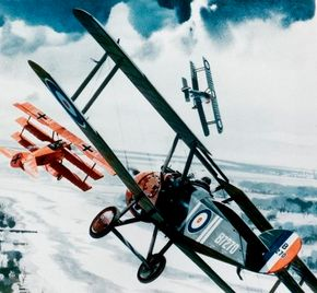 Above, the Red Baron (red plane) is shown closing on the Sopwith Camel of Canadian Lt. Wilfred May, unaware that Capt. Roy Brown has slid into position behind him.