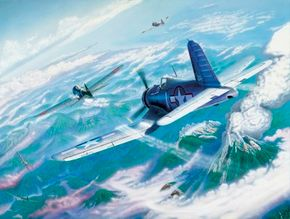 A carrier-based F4U Corsair bears down relentlessly on a pair of Japanese Zeros in a heated moment during the Pacific air war.