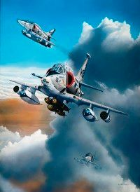 Jet power in the raw: A double threat of well-armed Douglas AE-4 Skyhawks streaks from the clouds, superbly piloted and ready to take on all challengers.
