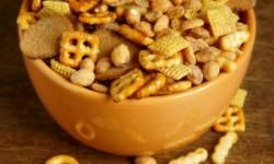 This mixture of pretzels, cereal, peanuts and rye chips is a healthy and portable snack.
