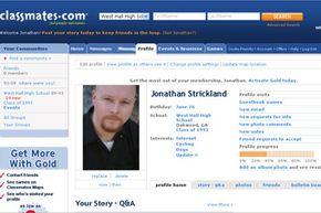 Jonathan Strickland's Classmates.com profile. Note the serious face.