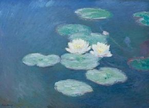 Claude Monet painted Waterlilies, night effect from 1897 to 1898, studying his subject patience. See more pictures of Monet's paintings.