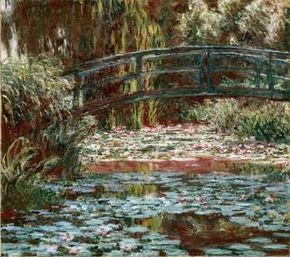Claude Monet's Water Lily Pool is an oil on canvas (35-3/8x39-3/8 inches) in the Mr. and Mrs. Lewis Larned Coburn Memorial Collection at The Art Institute of Chicago.