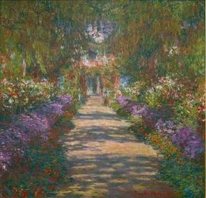 Garden in Giverny by Claude Monet is an oil on canvas (35-1/4x36-3/8 inches) housed at Österreichische Galerie in Belvedere, Vienna.
