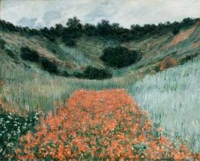 Claude Monet's Poppy Field in a Hollow near Giverny is an oil on canvas (25-5/8x31-7/8 inches) housed at the Museum of Fine Arts in Boston.