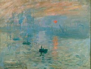 Claude Monet's Impression Sunrise (18-7/8x 24-3/4 inches Musee Marmottan in Paris.