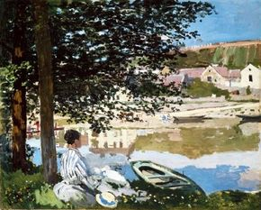 Claude Monet 's On the Bank of the Seine, Bennecourt                              (32-1/4x39-5/8 inches) is an oil-on-canvas work housed                                            as part of the Potter Palmer Collection                                            in The Art Institute of Chicago.