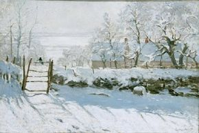 Claude Monet's The Magpie (35x51-1/4 inches) is an oil-on-canvas work housed in the Musee d'Orsay in Paris.