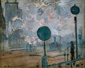 Claude Monet's La Gare Saint-Lazare. Les signaux                              (25-5/8x32-1/8 inches) is an oil on canvas housed                                            at the Niedersachsisches Landesmuseum                                            in Hannover, Germany.