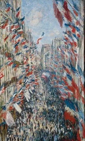 Claude Monet's Rue Montorgueil in Paris, Festival of 30 June 1878 (31-1/2x19-1/8 inches) is an oil on canvas housed at the Musee d'Orsay in Paris.