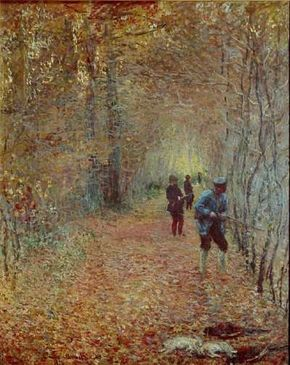 Claude Monet's The Hunt (68-1/8x55-1/4 inches) is an oil on canvas housed at the Musee de la Chasse et de la Nature in Paris.