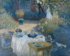 Claude Monet's The Luncheon, Monet's Garden at Argenteuil (63-3/4x79-7/8 inches) is an oil on canvas housed at the Musee d'Orsay in Paris.
