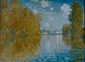 Claude Monet's Autumn in Argenteuil (22x29-1/2 inches) is an oil on canvas housed at the Courtauld Institute Gallery in London