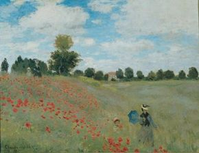Claude Monet painted The Poppy Field, near  Argenteuil in 1873. See more pictures of Monet paintings.
