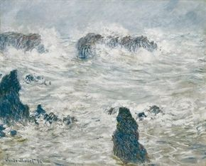 Storm, Belle-Isle coast by Claude Monet is an oil on canvas (25-5/8x31-7/8 inches) housed in the Musée d'Orsay, Paris