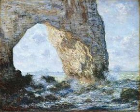 The Manneporte (Etretat) by Claude Monet is an oil on canvas (25-3/4x32 inches) housed in The Metropolitan Museum of Art, New York