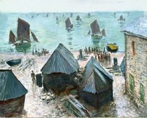 Claude Monet's The Departure of the Boats, Etretat is an oil on canvas (28-7/8x36-5/8 inches) in the Mr. and Mrs. Potter Palmer Collection at The Art Institute of Chicago