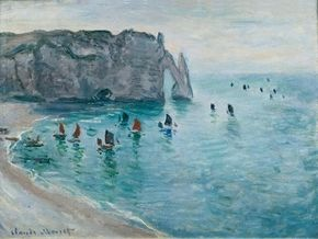 Claude Monet's Etretat, gate of Aval: Fishing boats leaving the harbor is an oil on canvas (23-5/8x31-7/8 inches) housed at the Musée des Beaux-Arts in Dijon, France