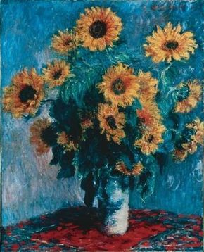 Bouquet of Sunflowers by Claude Monet is an oil on canvas (39-3/4x32-1/8 inches) housed at The Metropolitan Museum of Art in New York