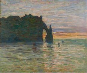 Coucher de soleil à Etretat by Claude Monet is an oil on canvas (23-5/8x28-3/4 inches) housed at the Musée des Beaux-Arts in Nancy, France.