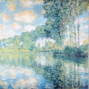 Poplars on the Banks of the River Epte by Claude Monet is an oil on canvas (32-1/8 x 32-1/4 inches) and is housed at the National Gallery of Scotland in Edinburgh.