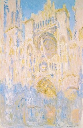 Rouen Cathedral at the End of the Day (Sunlight Effect) by Claude Monet is an oil on canvas (39-3/8 x 25-5/8 inches) and is housed at Musée Marmottan, Paris.