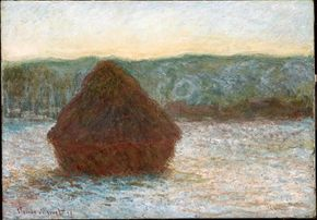 Stack of Wheat (Thaw, Sunset) by Claude Monet is oil on canvas (25-1/2 x 36-3/8 inches), housed at The Art Institute of Chicago, Mr. and Mrs. Daniel C. Searle