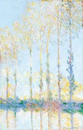 Poplars, White and Yellow Effect by Claude Monet (39-3/8x25-5/8) oil on canvas, is housed in the Philadelphia Museum of Art.