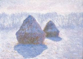 Grainstacks, Effect of Snow and Rain by Claude Monet is an oil on canvas (25-3/4 x 36-1/4 inches) and is housed at The Metropolitan Museum of Art, New York.