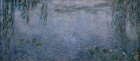 The Morning by Claude Monet is an oil on canvas (78-3/4 x 167-3/8 inches). (Left panels)