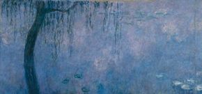 Claude Monet's The Two Willows is housed at                                      Musée de L'Orangerie, Paris. (Left panels)