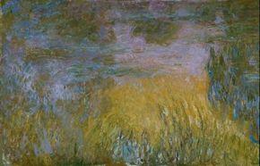 Sunset by Claude Monet is an oil on                              canvas (78-3/4 x 236-1/4 inches). It is housed at                                            the Museé de L'Orangerie, Paris. (Left panel)