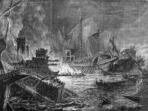 A depiction of the Battle of Actium involving Octavius against Mark Antony and Cleopatra.
