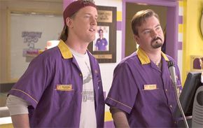 "Jeff Anderson as ""Randal"" and Brian O'Halloran as ""Dante"" in ""Clerks II"""