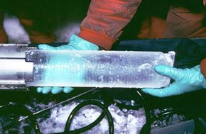 Ice core samples, like this one collected in Antarctica in 1993, are used to support and disprove theories about climate change.