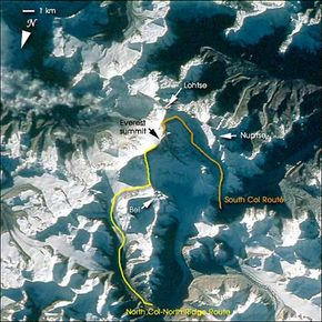 The two most common routes up Everest: the South Col and the North Col-North Ridge