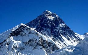 Mount Everest as seen from the nearby mountain of Kala Patthar. See more pictures of Mount Everest.