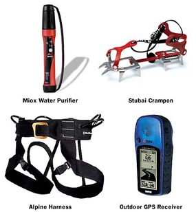 A few of the many tools and supplies needed to climb Everest.
