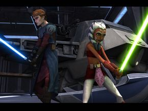 Anakin Skywalker and Ahsoka Tano prepare for battle.