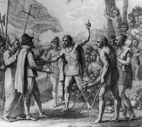 An engraving depicting an encounter between Christopher Columbus and natives of Cuba.