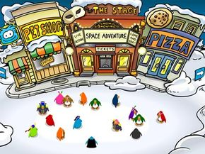 Club Penguin users socialize on one of world's busy main streets.