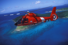 A Coast Guard helicopter at work