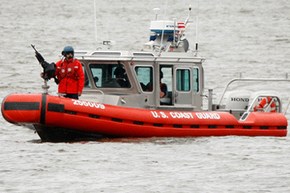 A Coast Guard boat keeps watch over American waters.
