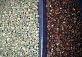 Photo courtesy CoffeeResearch.org                                      Before and After: Green (left) and roasted coffee beans (right)