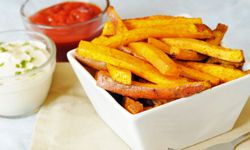 Sweet potato fries don't have to go through the deep fryer to be yummy.